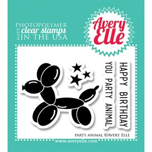 "Avery Elle Party Animal Clear Stamp Set 2""X3"""