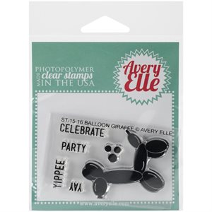 "Avery Elle Balloon Giraffe Clear Stamp Set 2""X3"""