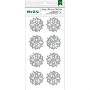 Holiday Remarks Glitter Stickers Silver Snowflakes