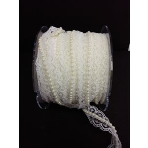 3 / 4'' x 1y lace / pearl center ivory