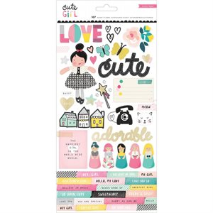 "Cute Girl Foiled Stickers 6""X12"" 2 / Sheets"