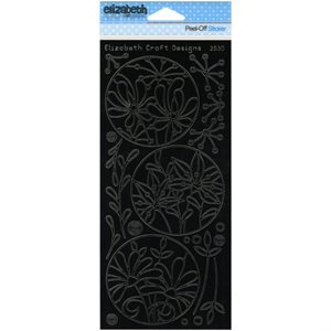 Flower Circle Frames Peel-Off Stickers Black