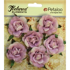 "Textured Elements Canvas Rosettes 1.5"" 6 / Pkg  Lavendar"